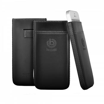 Bugatti Pure Premium Čierne Kožené Pouzdro pro Nokia Lumia 920
