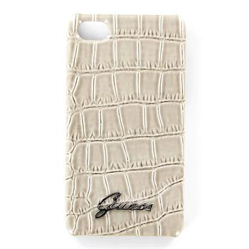 GUP4CRBE Guess Beige Crocodile Zadní Kryt pro iPhone 4/4S
