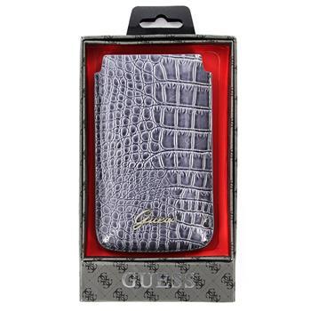 GUPOS2CRG Guess Crocodile Grey Universal Kožené Pouzdro vel. L