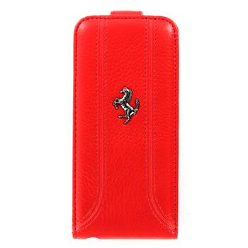 iPhone 5, 5S FEFFFLP5RE Ferrari Kožené Flip Pouzdro Red