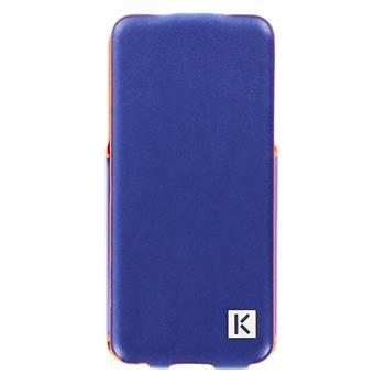 "KENZO Kožené Flip Pouzdro Metal Palte ""K"" Blue pro iPhone 5, 5S"