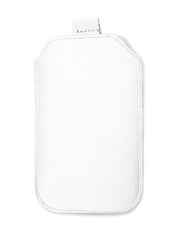 Kožené púzdro veľkosť 05 biele s pásikom pre Nokia 101, Nokia C2-05, Nokia 2220, Samsung E2252, Samsung E1052, SE Elm, Nokia N73,