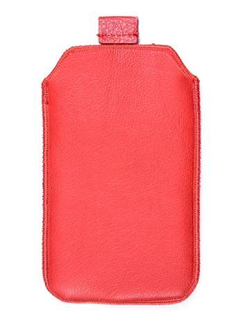 Kožené púzdro veľkosť 13 červené s pásikom pre Sam. S5380D, Sam. B5330, Sam. i8350, Sam. S8160, Sam. S5830, Motorola Motoluxe, LG