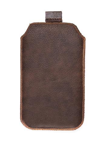 Kožené púzdro veľkosť 17 hnedé s pásikom pre Sony Ericsson Xperia X10 Mini