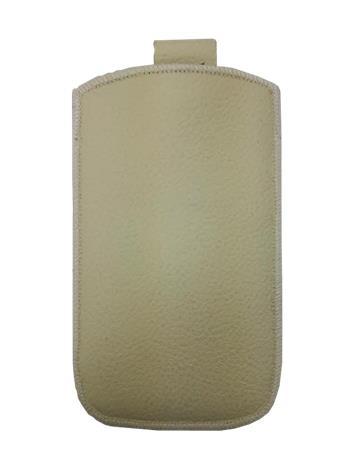 Kožené púzdro veľkosť 19 béžové s pásikom pre Sam. E2652W, Sam. S 5300, Sam. S 5220, Sam. S 5360, Nokia C2-02, Nokia C2-06, Motoro