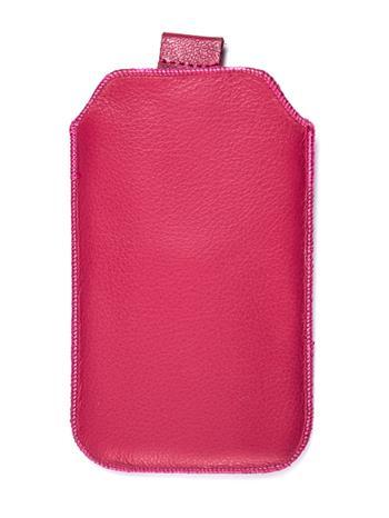 Kožené púzdro veľkosť 19 ružové s pásikom pre Sam. E2652W, Sam. S 5300, Sam. S 5220, Sam. S 5360, Nokia C2-02, Nokia C2-06, Motoro