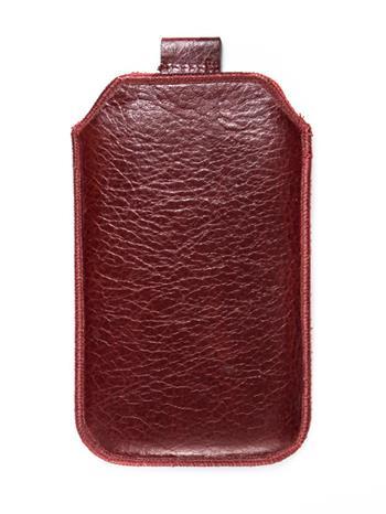 Kožené púzdro veľkosť 20 tmavočervené s pásikom pre Nokia 808, ZTE Blade III, Sam. I8530, ZTE Grand X, Nokia Lumia 710, Samsung i8