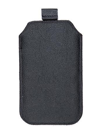 Samsung S5610, S5611, NOKIA 301, E512, Nokia 515 Pravé kožené púzdro veľkosť 28 čierne s vyťahovacím pútkom