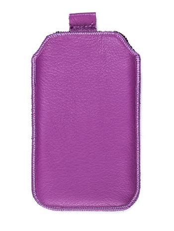 Samsung S5610, S5611, NOKIA 301, E512, Nokia 515 Pravé kožené púzdro veľkosť 28 fialové s vyťahovacím pútkom