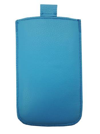 Samsung S5610, S5611, NOKIA 301, E512, Nokia 515 Pravé kožené púzdro veľkosť 28 modré s vyťahovacím pútkom